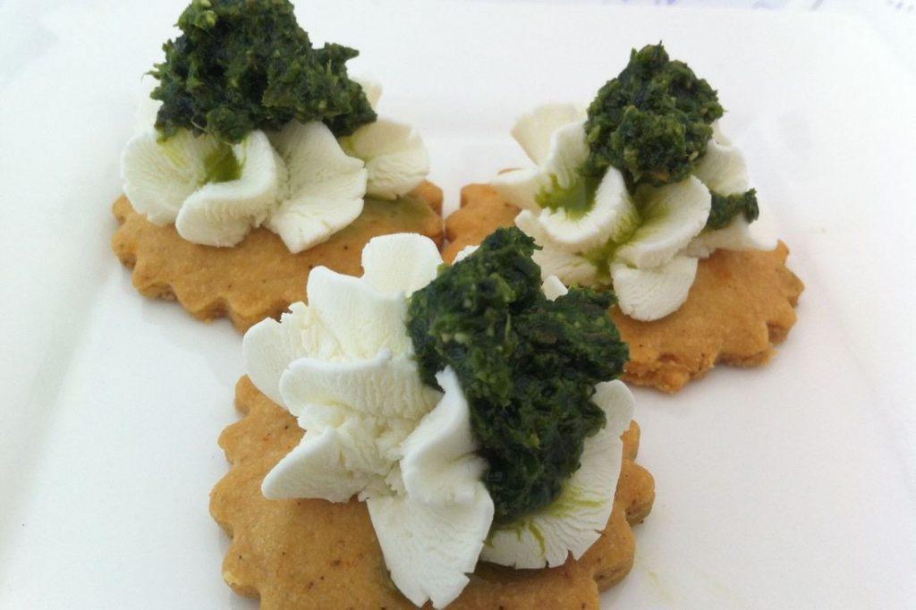 Chèvre Pesto Canape with Jalapeno Cracker