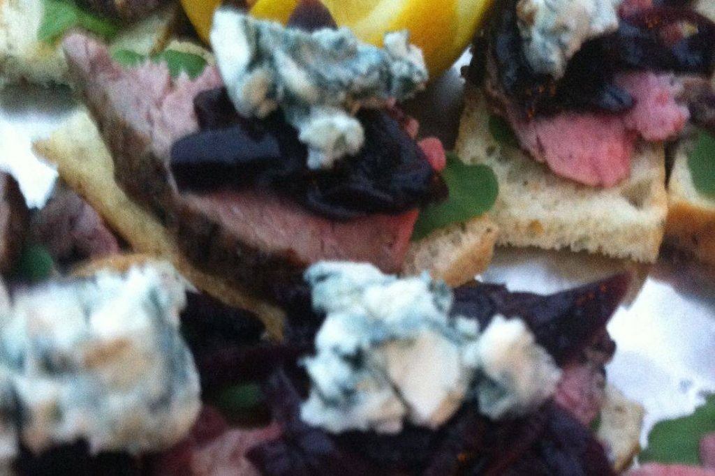 Beef Tenderloin on Crostini with Blue Cheese and Caramelized Onions